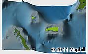 Physical 3D Map of Rum Cay, darken