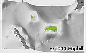 Physical 3D Map of Rum Cay, desaturated