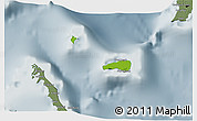Physical 3D Map of Rum Cay, semi-desaturated