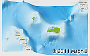 Physical 3D Map of Rum Cay, shaded relief outside