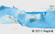 Shaded Relief Panoramic Map of Rum Cay