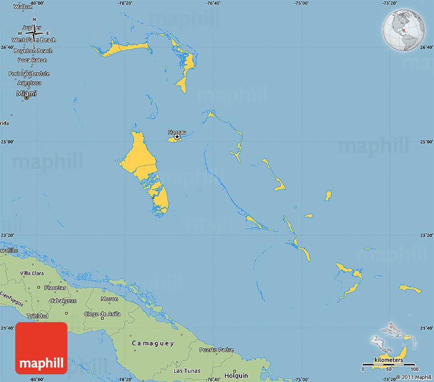 Savanna Style Simple Map of the Bahamas