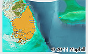 Political 3D Map of South Andros, satellite outside