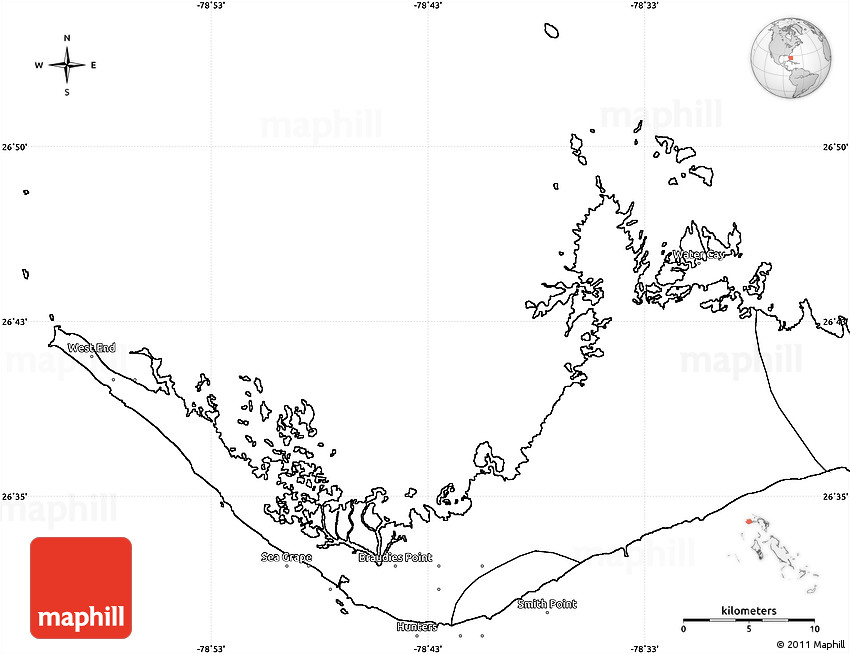 Blank Simple Map of West Grand Bahama