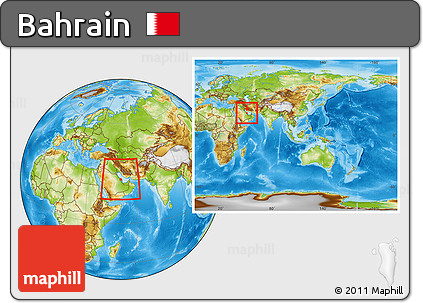 Free Physical Location Map of Bahrain, within the entire continent