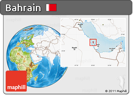 Free Physical Location Map of Bahrain highlighted continent