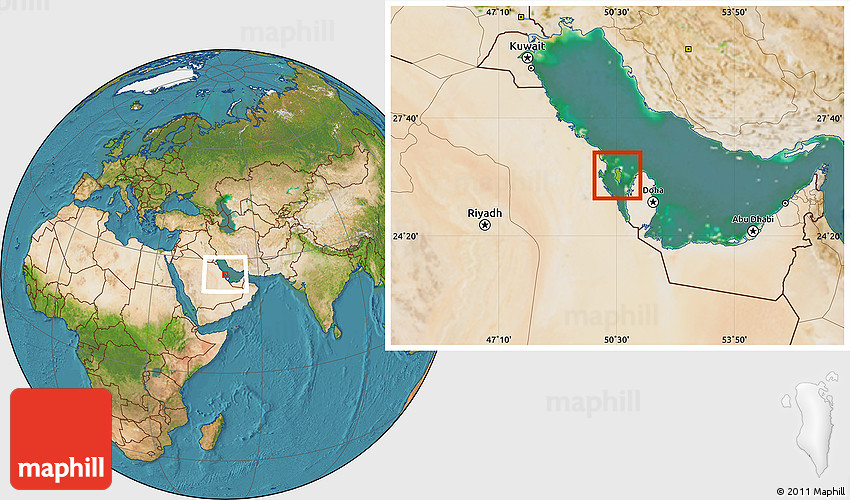 Physical Location Map of Bahrain satellite outside