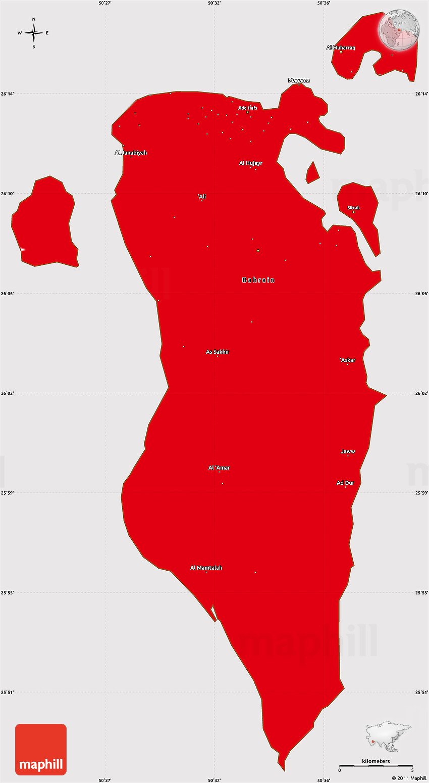 flag simple map of bahrain flag centered