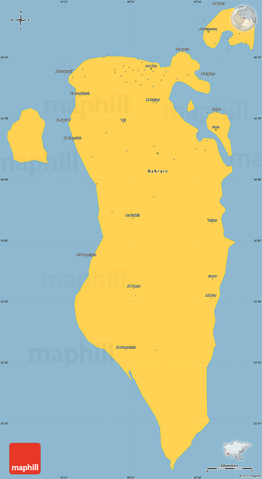 savanna style simple map of bahrain