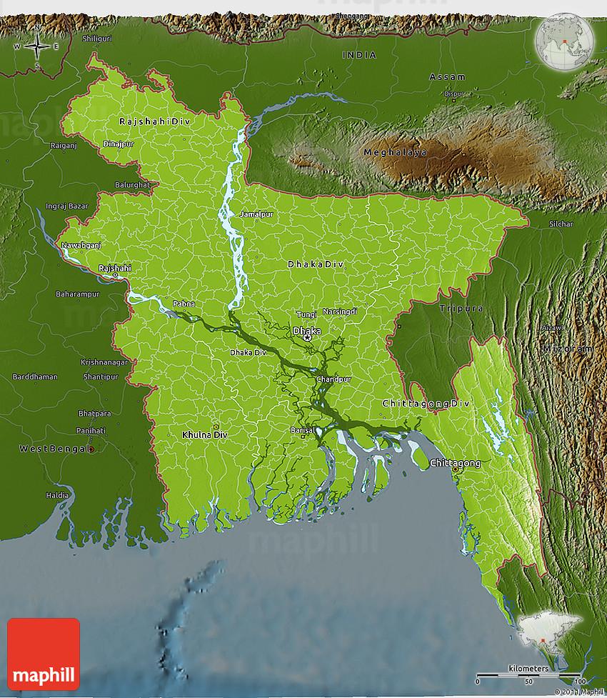 Physical 3D Map of Bangladesh darken
