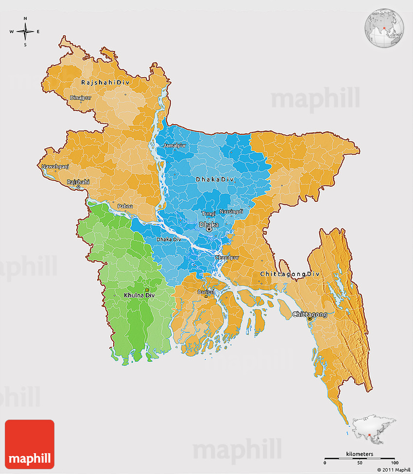 Political 3d Map Of Bangladesh Cropped Outside
