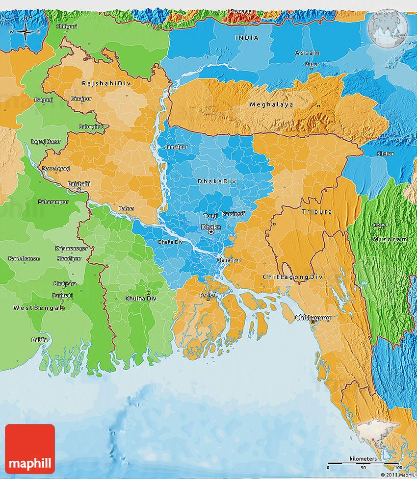 Political 3d Map Of Bangladesh