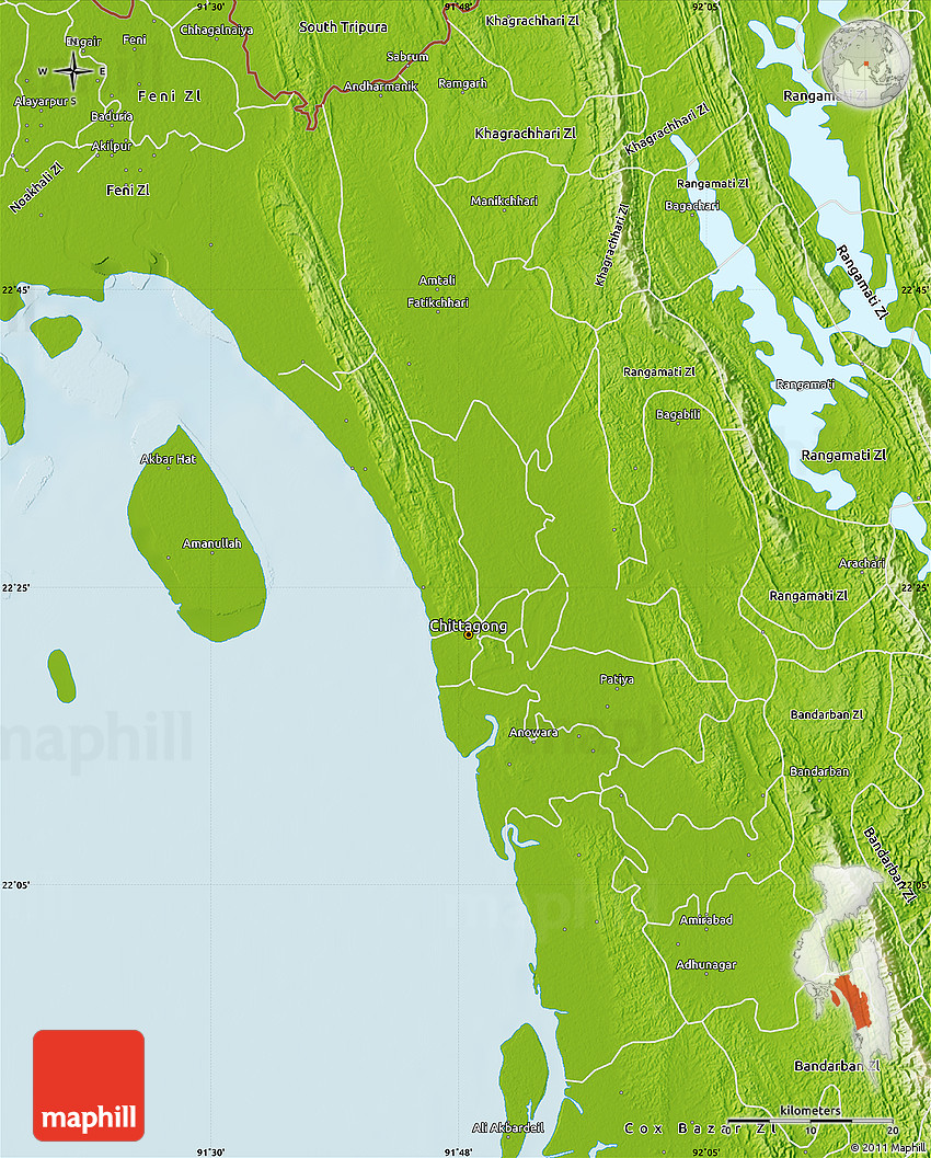 Physical Map of Chittagong Zl