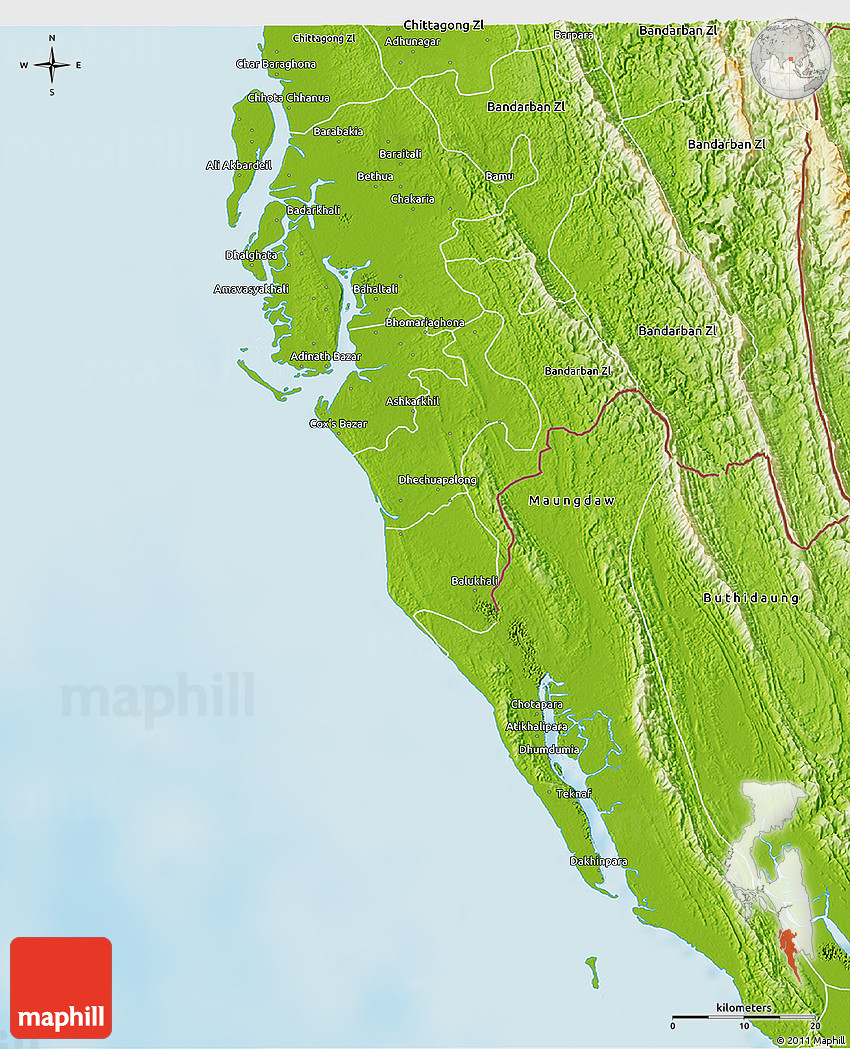 Physical 3D Map of Cox Bazar Zl on