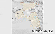 Shaded Relief Panoramic Map of Chittagong Div, desaturated