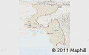 Shaded Relief Panoramic Map of Chittagong Div, lighten