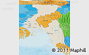 Shaded Relief Panoramic Map of Chittagong Div, political shades outside