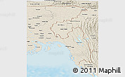 Shaded Relief Panoramic Map of Chittagong Div