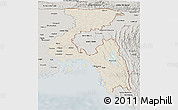 Shaded Relief Panoramic Map of Chittagong Div, semi-desaturated