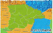 Physical 3D Map of Sylhet Zl, political outside