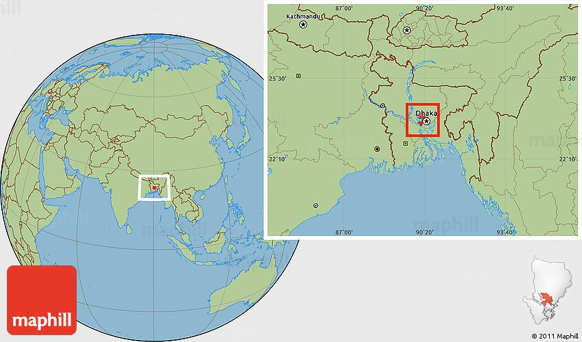 Savanna Style Location Map of Dhaka Zila