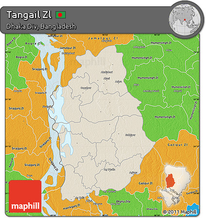 Free Shaded Relief Map Of Tangail Zl Political Outside - Tangail map