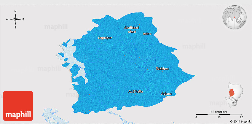 Political Panoramic Map Of Tangail Zl Single Color Outside - Tangail map