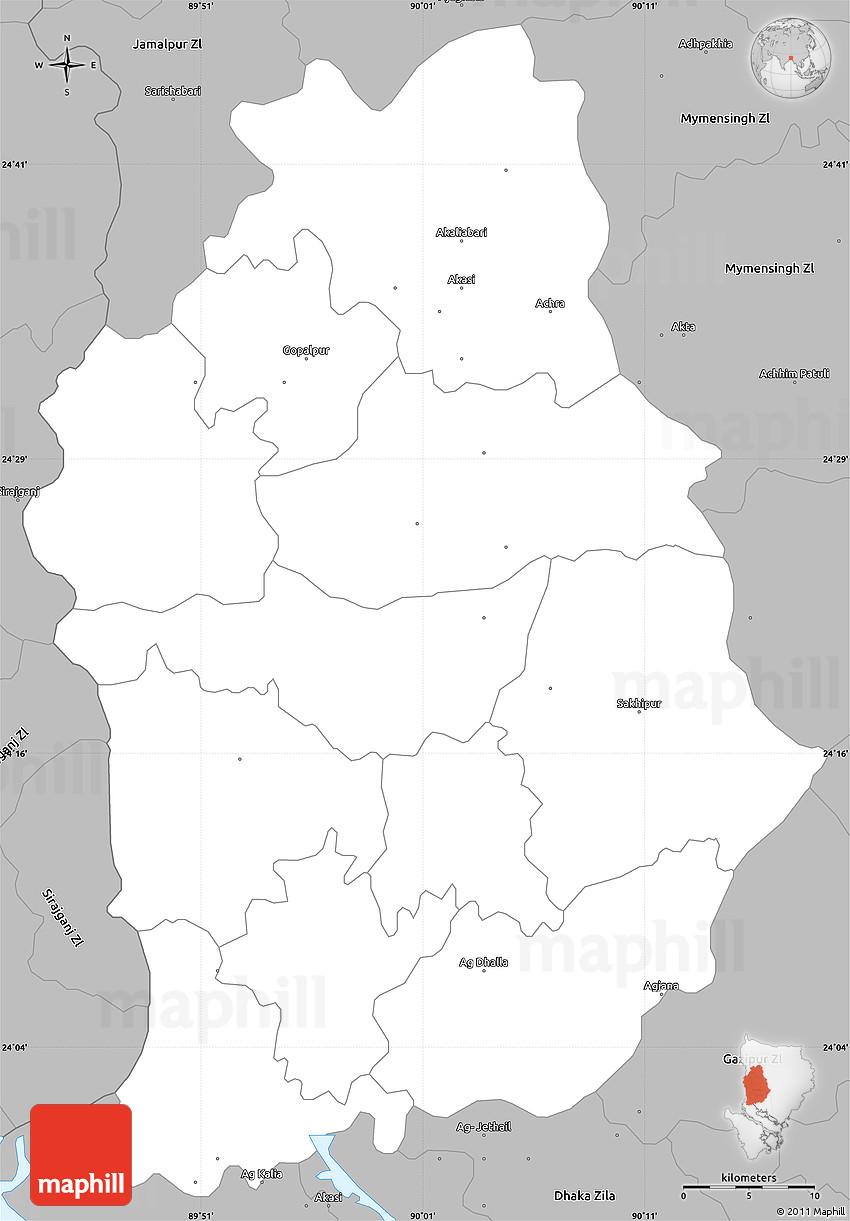 Gray Simple Map Of Tangail Zl - Tangail map