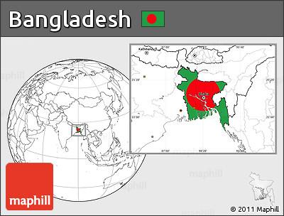 Flag Location Map of Bangladesh, blank outside