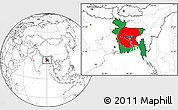 Flag Location Map of Bangladesh, blank outside