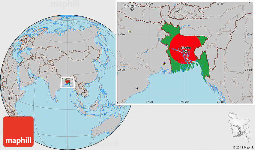 Flag Location Map of Bangladesh gray outside