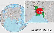 Flag Location Map of Bangladesh, gray outside
