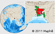 Flag Location Map of Bangladesh, shaded relief outside