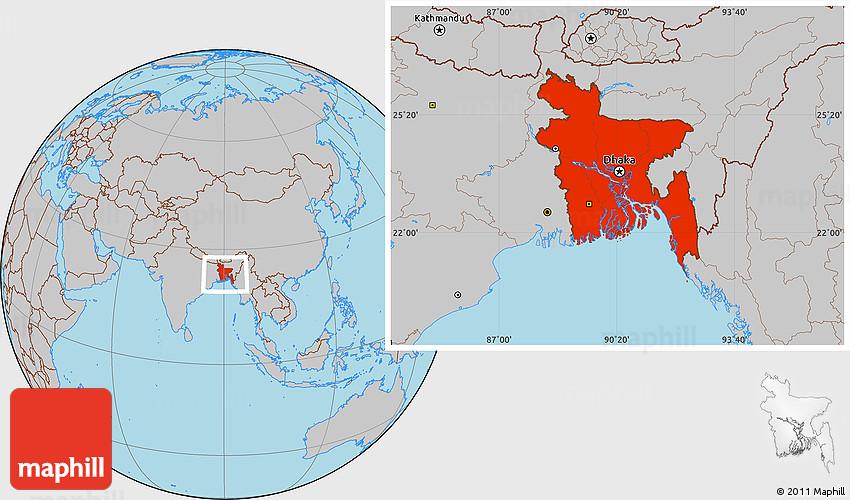 Gray Location Map of Bangladesh