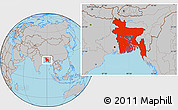 Gray Location Map of Bangladesh