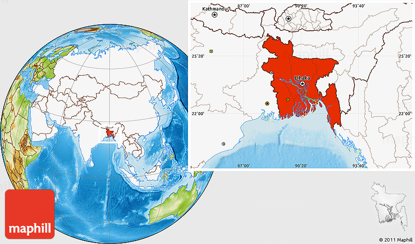 Physical location map of bangladesh highlighted continent gumiabroncs Gallery