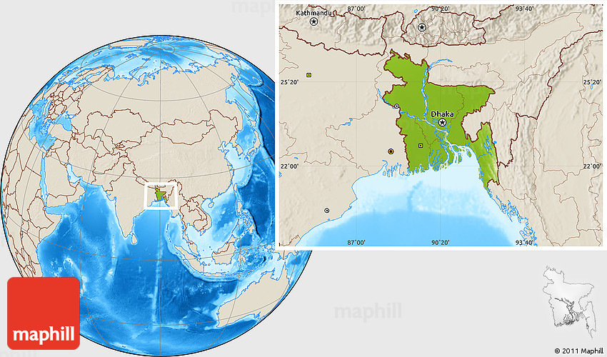 Physical location map of bangladesh shaded relief outside 2d gumiabroncs Gallery