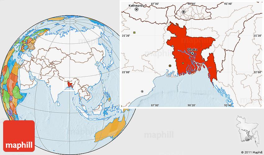 location of bangladesh on world map Political Location Map Of Bangladesh Highlighted Continent location of bangladesh on world map