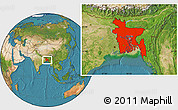 Satellite Location Map of Bangladesh