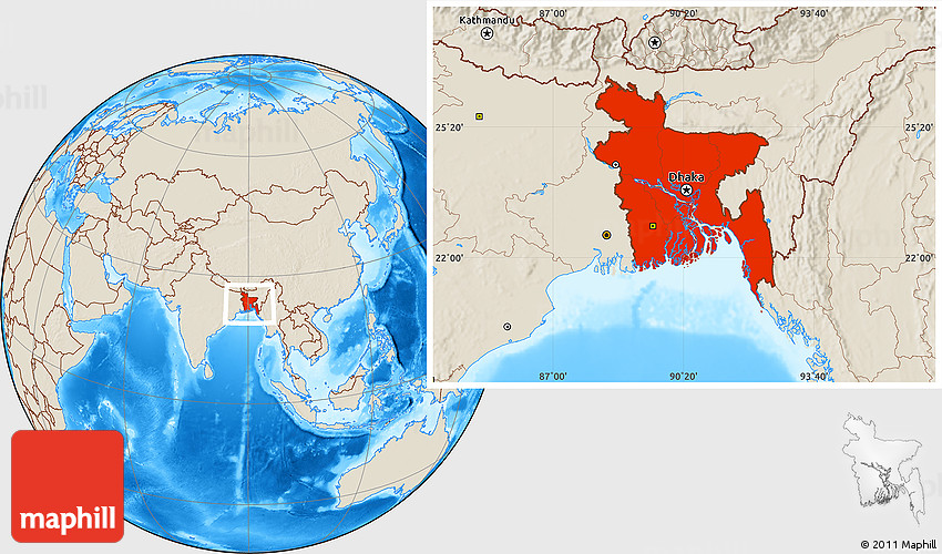 Shaded Relief Location Map of Bangladesh