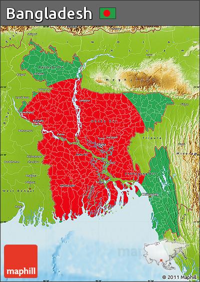 Free Flag Map of Bangladesh physical outside flag centered