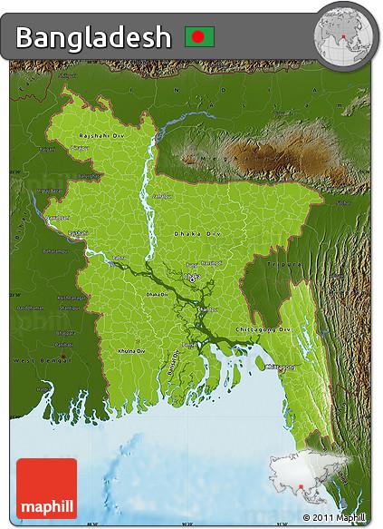 Free Physical Map of Bangladesh darken land only