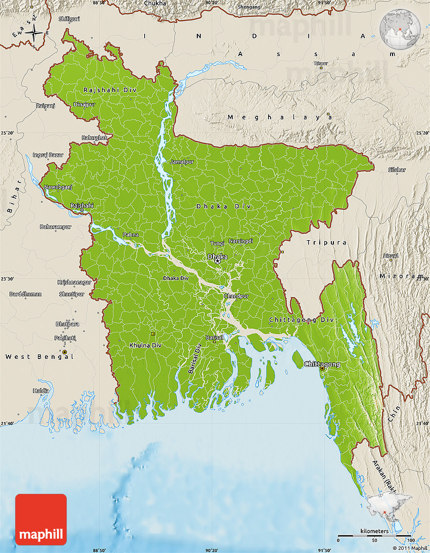 Physical Map of Bangladesh, shaded relief outside