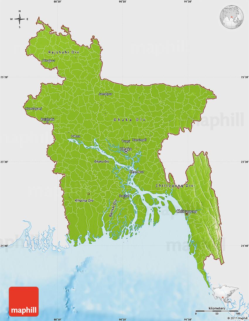 Physical Map of Bangladesh single color outside