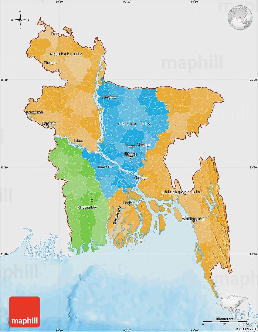 Political Map Of Bangladesh Single Color Outside