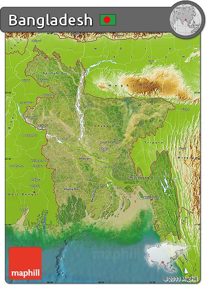 Free Satellite Map of Bangladesh physical outside satellite sea