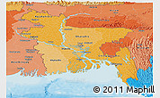 Political Shades Panoramic Map of Bangladesh