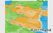 Political Shades Panoramic Map of Rajshahi Div