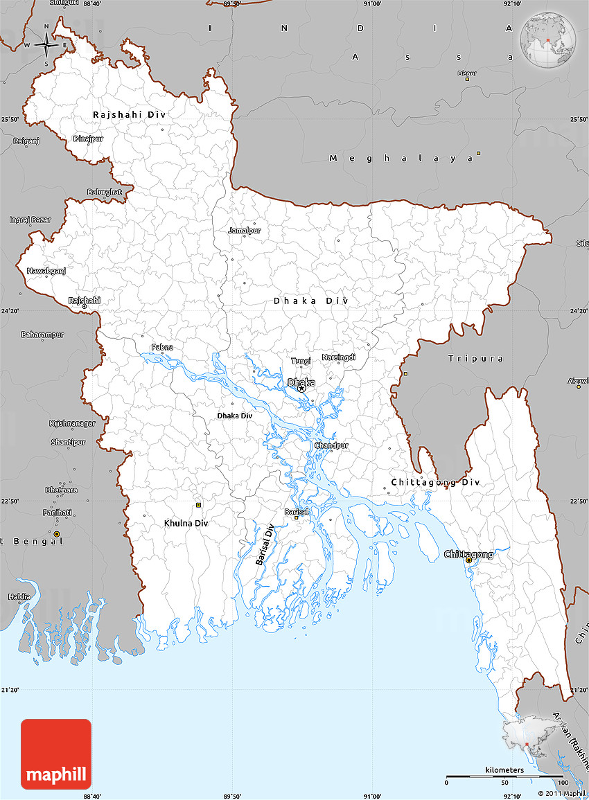 Gray Simple Map Of Bangladesh