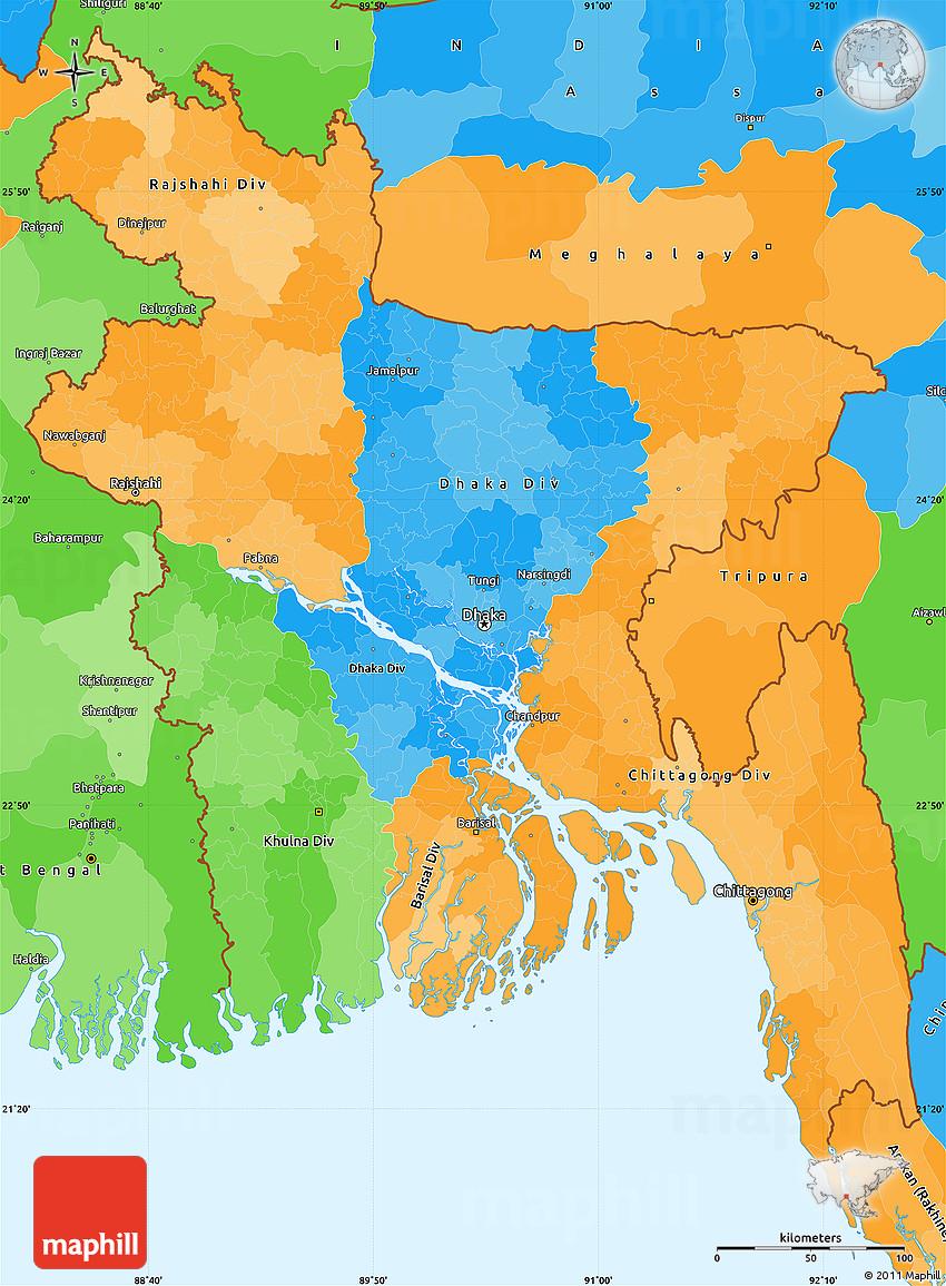 Political Simple Map Of Bangladesh